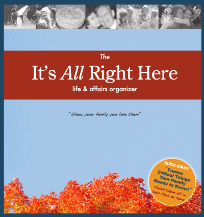 It's All Right Here Life & Affairs Organizer workbook by Mark Gavagan